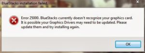 Bluestacks error 25000