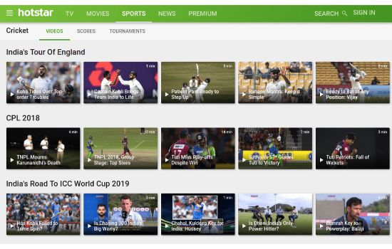 Hotstar Sports Streaming Sites