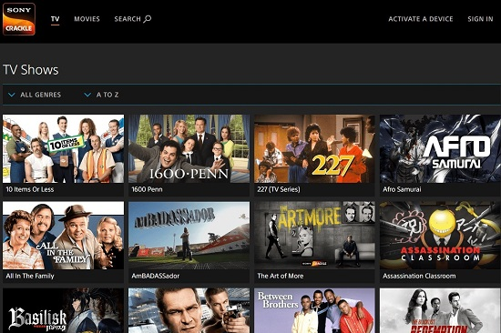 Sony Crackle TV Streaming Sites