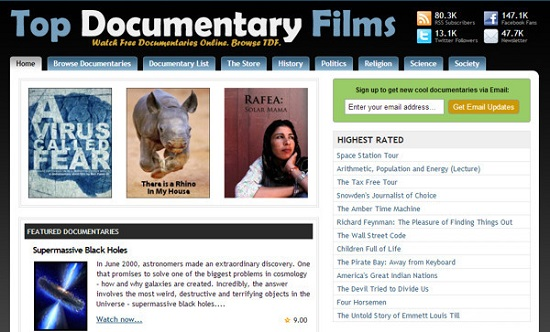 Top Documentary Films Movie Streaming Sites