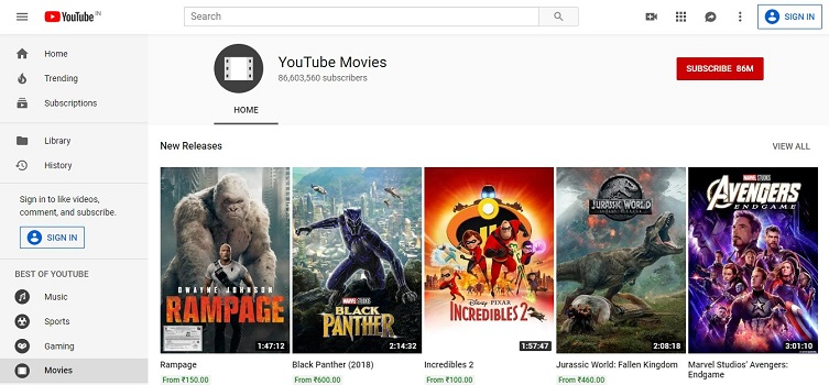 YouTube Movie Streaming Sites